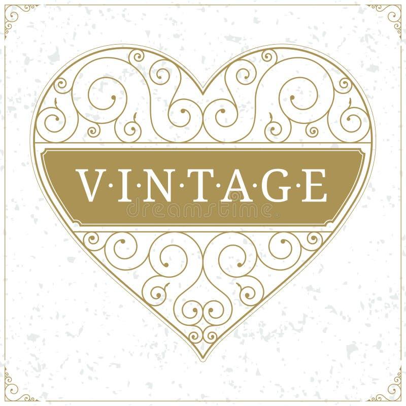 Calibre de luxe de logo de coeur dans le style de vintage illustration stock