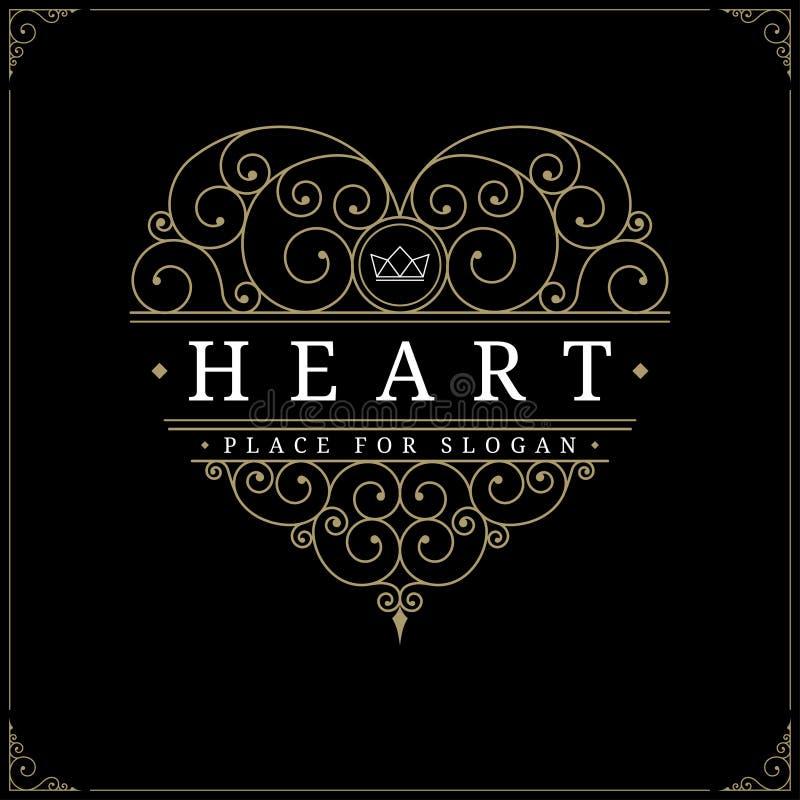Calibre de luxe de logo de vintage de coeur illustration libre de droits