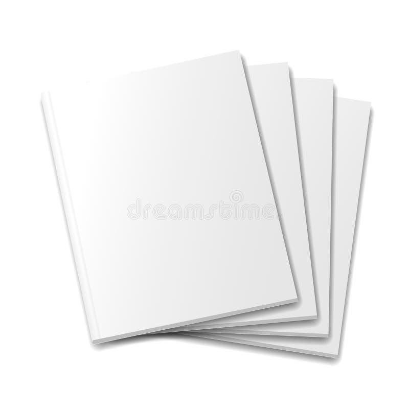 Calibre de magazine de maquette de couvertures vides sur le blanc illustration stock