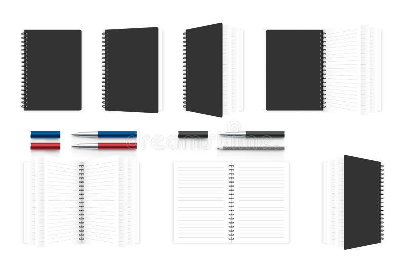 Calibre de maquette d'organisateur de carnet, stylo réaliste et illustration de crayon d'isolement sur le fond blanc, avec l'esp illustration stock
