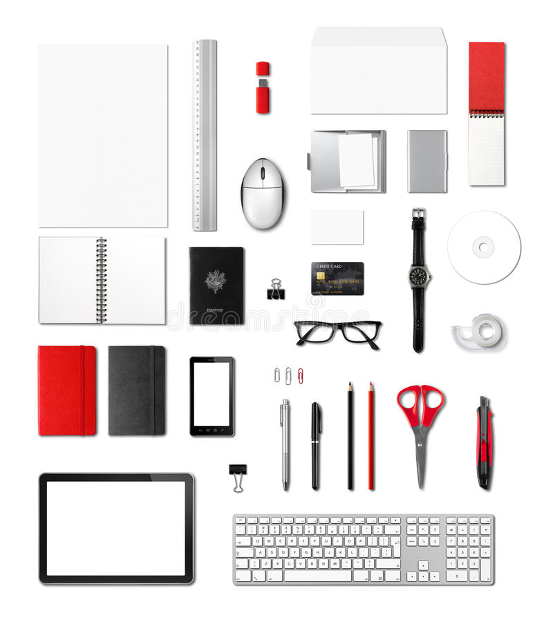 Calibre de maquette de fournitures de bureau, fond blanc photo libre de droits