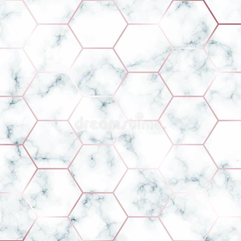 Calibre de marbre vert de conception avec la grille rose hexagonale d'or pour l'invitation, les bannières, la carte de voeux, etc illustration libre de droits