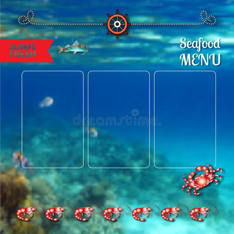 Calibre de menu de fruits de mer de vecteur sur le fond marin illustration stock