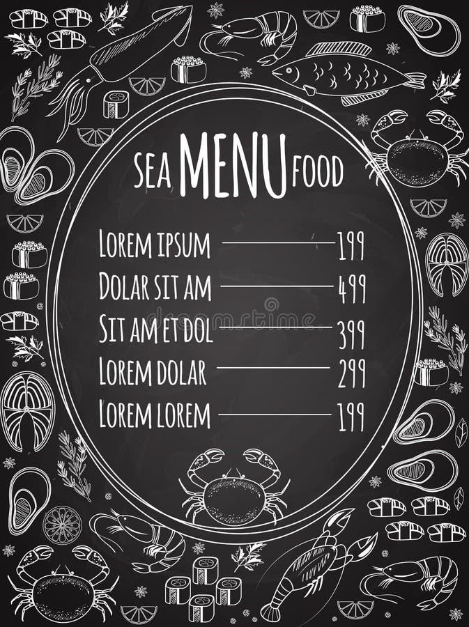 Calibre de menu de tableau de fruits de mer illustration libre de droits