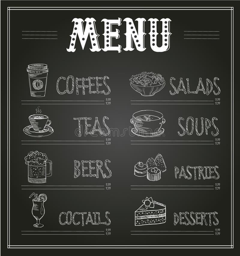 Calibre de menu de tableau de nourriture et de boissons illustration de vecteur