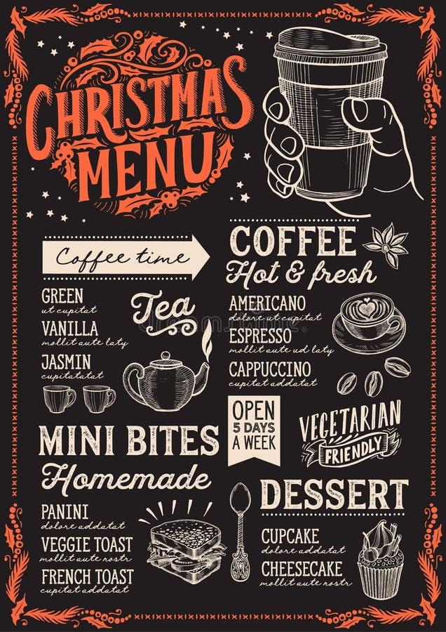 Calibre de menu de Noël pour le café sur le tableau noir illustration de vecteur
