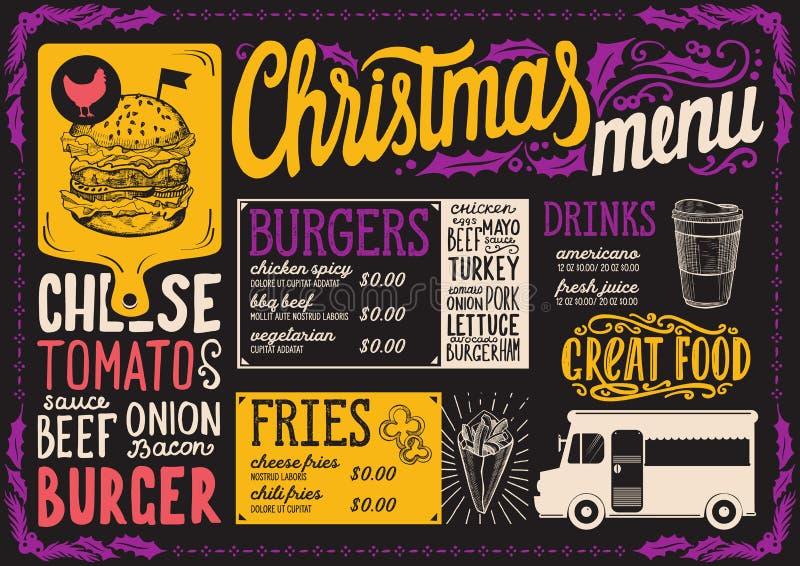Calibre de menu de Noël pour le camion de nourriture illustration stock