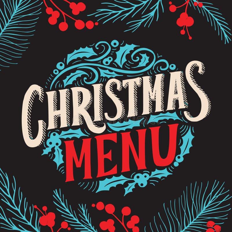 Calibre de menu de Noël pour le restaurant et café sur une brochure d'illustration de vecteur de fond de tableau noir pour le dîn illustration libre de droits