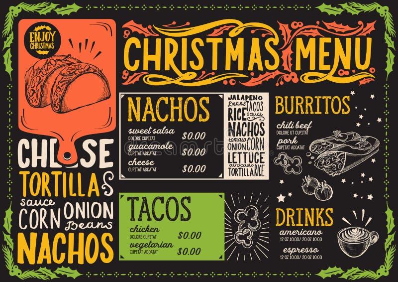Calibre de menu de Noël pour le restaurant mexicain illustration libre de droits