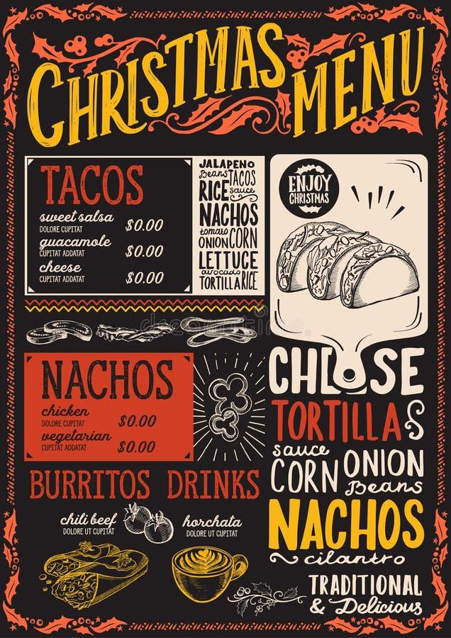 Calibre de menu de Noël pour le restaurant mexicain illustration de vecteur