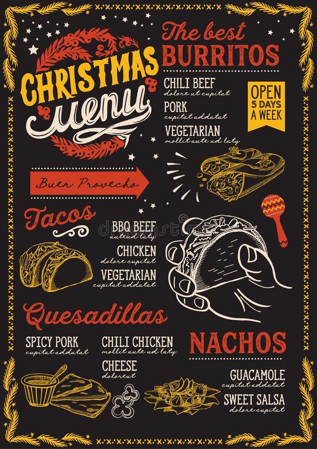 Calibre de menu de Noël pour le restaurant mexicain et café sur une brochure d'illustration de vecteur de fond de tableau noir po illustration stock