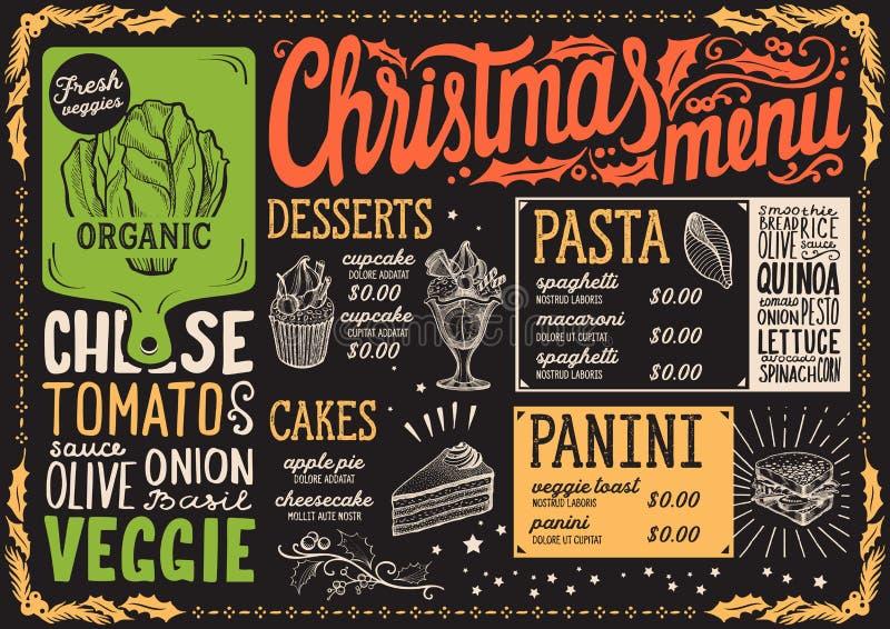 Calibre de menu de Noël pour le restaurant végétarien et café sur une brochure d'illustration de vecteur de fond de tableau noir  illustration libre de droits