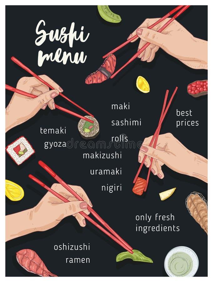 Calibre de menu de restaurant japonais avec des mains tenant les sushi, le sashimi et les petits pains appétissants avec des bagu illustration de vecteur