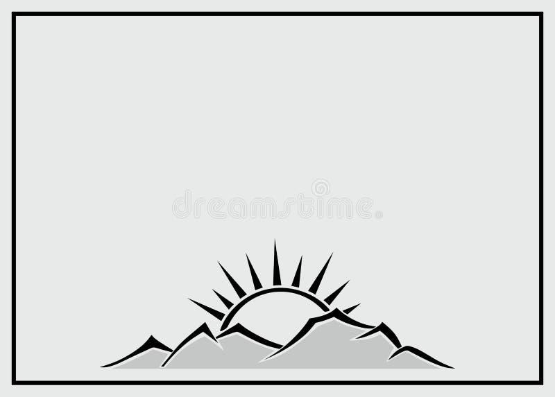 Calibre de nécrologie avec le coucher du soleil illustration stock