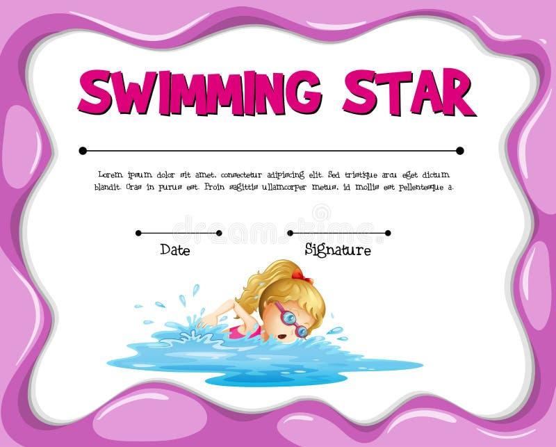 Calibre de natation de certificat d'étoile avec la natation de fille illustration libre de droits
