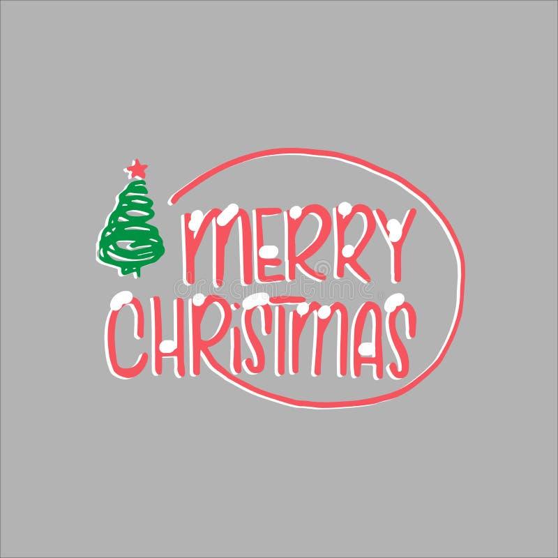 Calibre de Noël et de nouvelle année, avec l'arbre et l'étoile pour saluer, félicitations, invitations, étiquettes, autocollants, illustration de vecteur