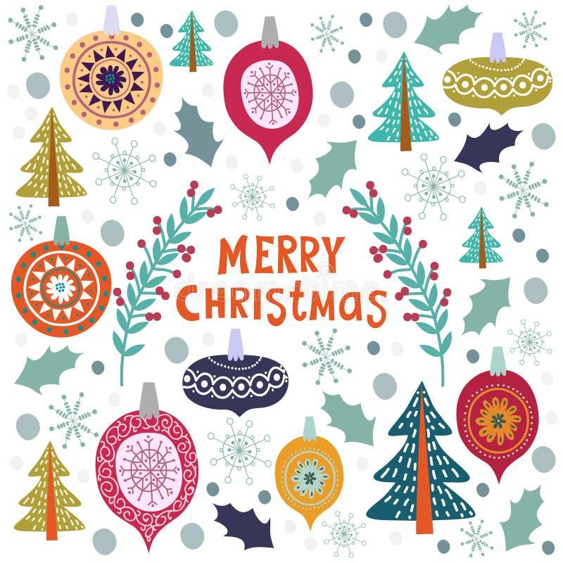 Calibre de Noël pour des cartes de voeux Vecteur tiré par la main de griffonnages illustration stock
