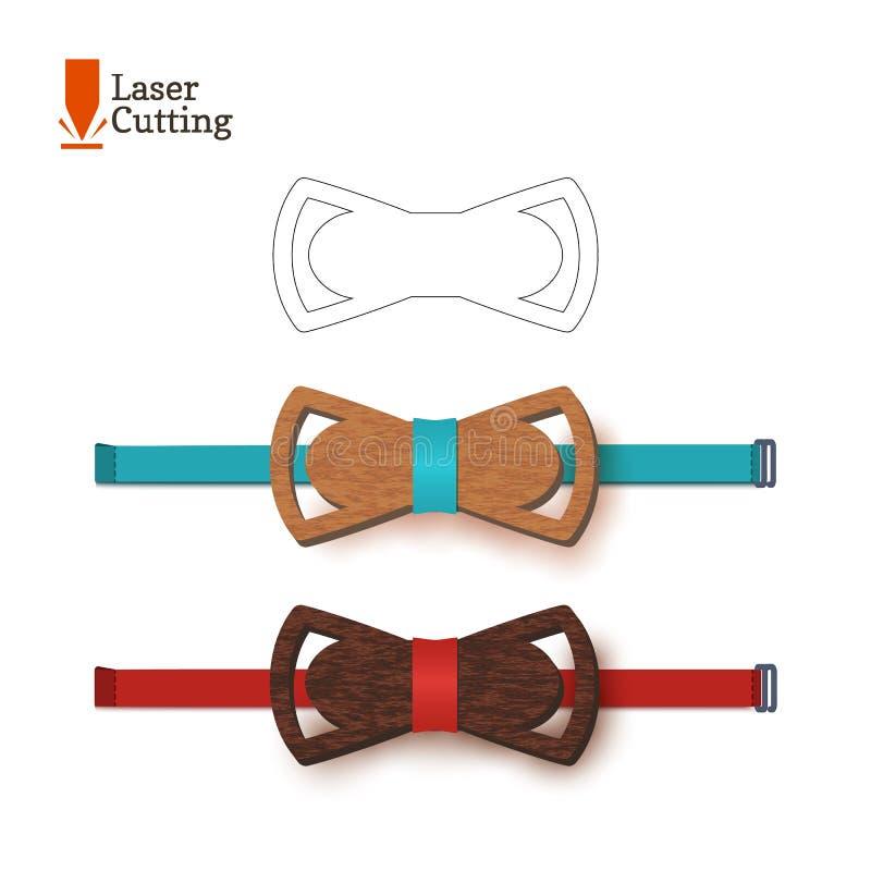 Calibre de noeud papillon de coupe de laser Dirigez la silhouette pour couper un noeud papillon sur un tour fait de bois, métal,  illustration libre de droits