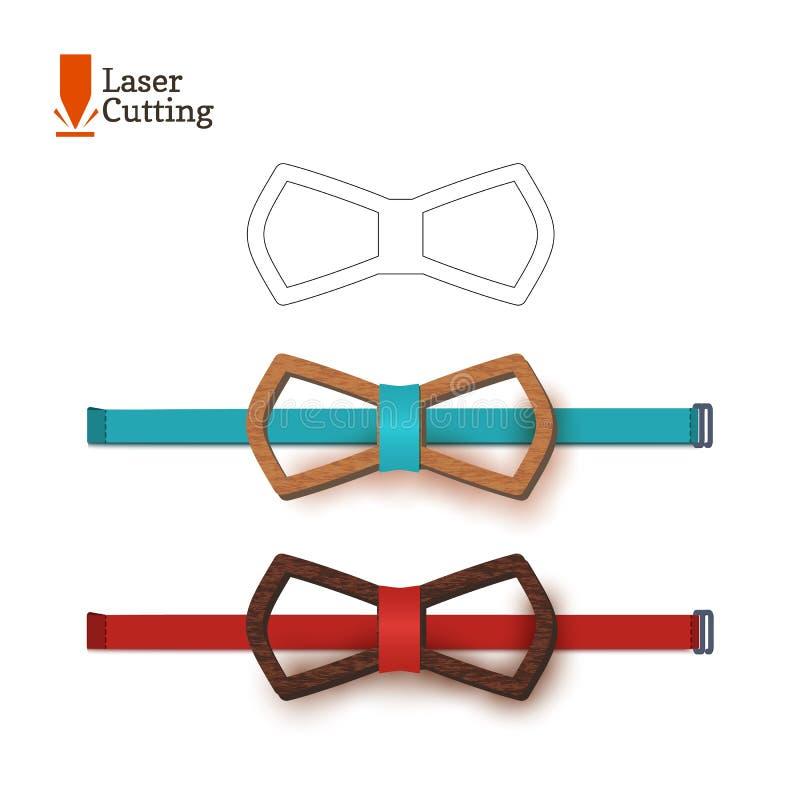 Calibre de noeud papillon de coupe de laser Dirigez la silhouette pour couper un noeud papillon sur un tour fait de bois, métal,  illustration stock