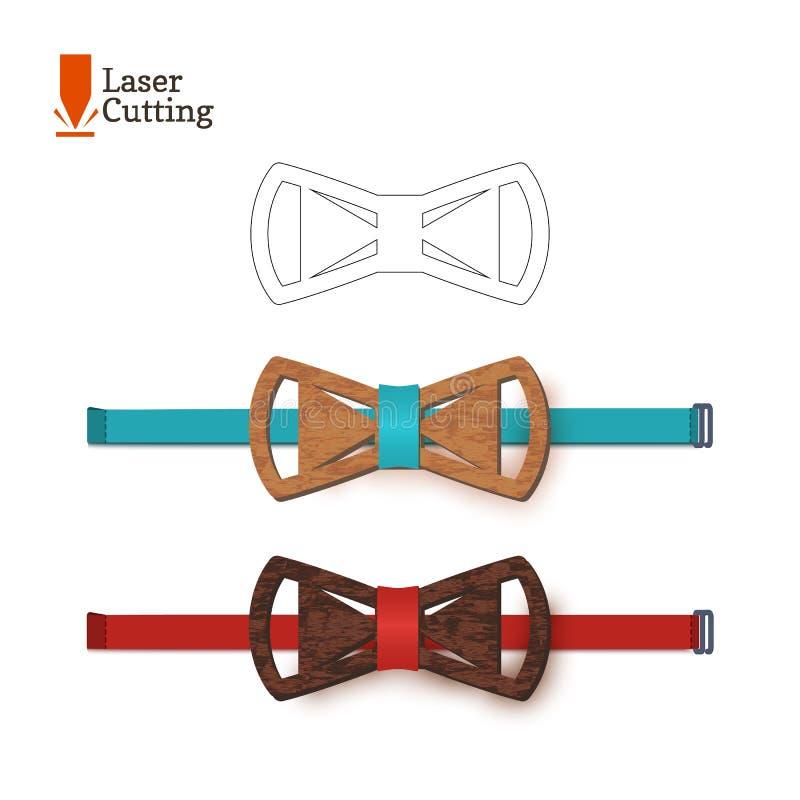 Calibre de noeud papillon de coupe de laser Dirigez la silhouette pour couper un noeud papillon sur un tour fait de bois, métal,  illustration de vecteur