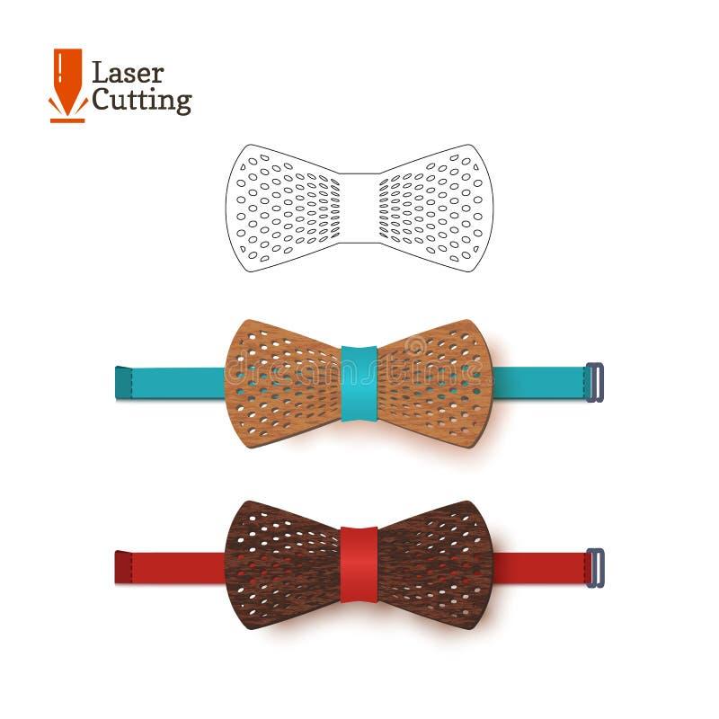 Calibre de noeud papillon de coupe de laser pour DIY Dirigez la silhouette pour couper un noeud papillon sur une commande numériq illustration libre de droits
