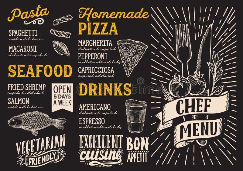 Calibre de nourriture de menu pour le restaurant avec le graphique tiré par la main de griffonnage illustration de vecteur