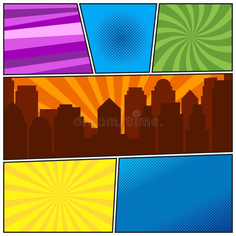 Calibre de page de bande dessinée avec différents milieux radiaux et c illustration libre de droits