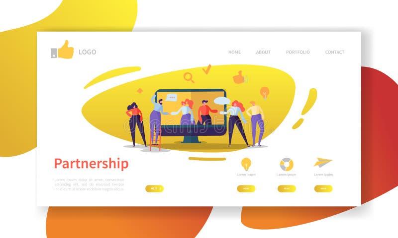 Calibre de page d'atterrissage d'association d'affaires Disposition de site Web avec la coopération plate de caractères de person illustration libre de droits
