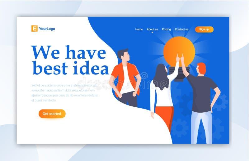 Calibre de page d'atterrissage de conception web de Team Work For Idea Ui pour illustration stock