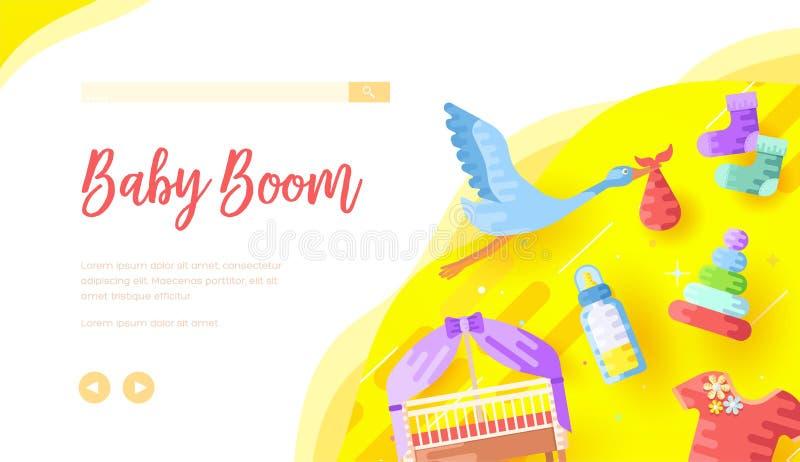 Calibre de page d'atterrissage de magasin d'Internet de produits de Childcare illustration libre de droits