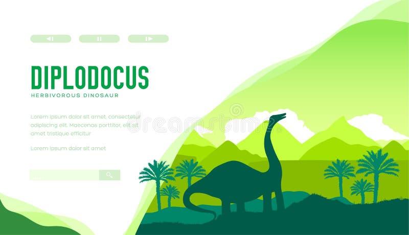 Calibre de page d'atterrissage de vecteur de Diplodocus illustration de vecteur