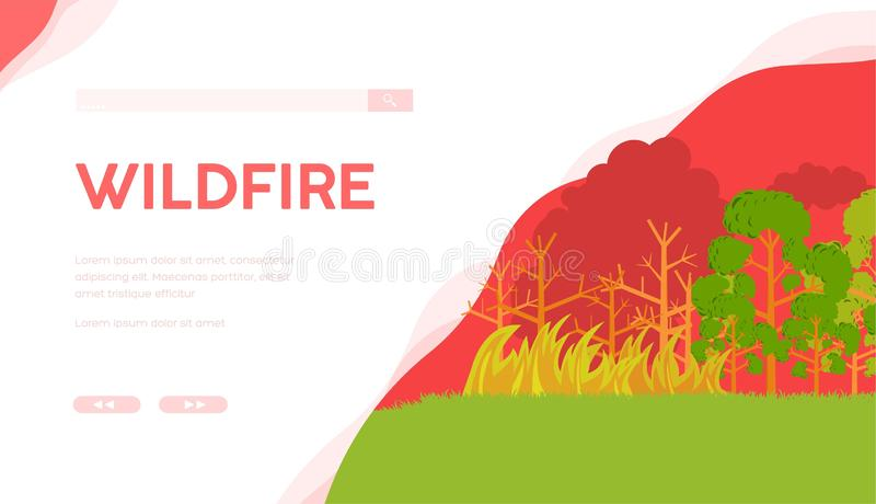 Calibre de page d'atterrissage de vecteur du feu de forêt illustration libre de droits