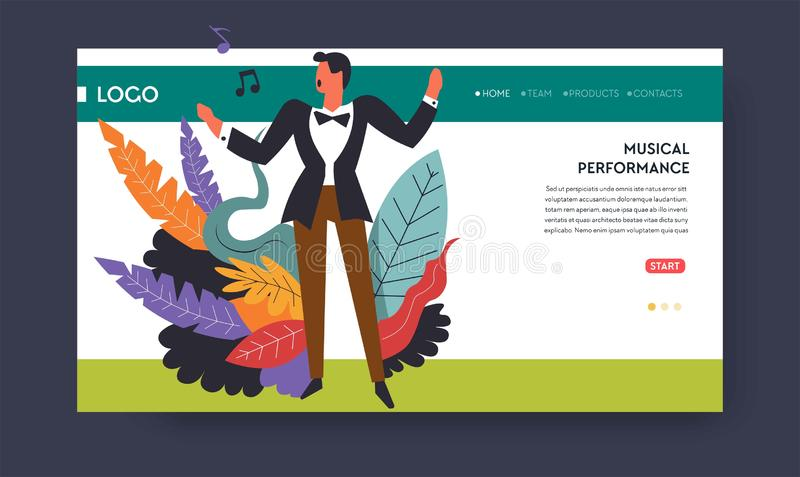Calibre de page Web de chanteur de concert de musique ou de repr?sentation musicale illustration de vecteur