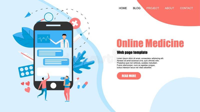 Calibre de page Web Concept de soins de sant? en ligne et de consultation m?dicale Illustration plate de vecteur illustration stock
