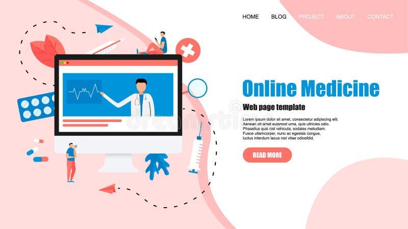 Calibre de page Web Concept de soins de sant? en ligne et de consultation m?dicale Illustration plate de vecteur illustration de vecteur