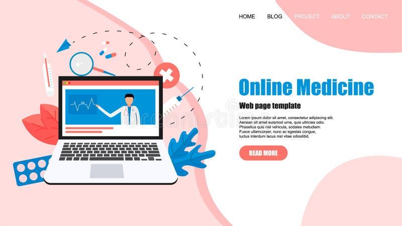 Calibre de page Web Concept de soins de sant? en ligne et de consultation m?dicale Illustration plate de vecteur illustration libre de droits