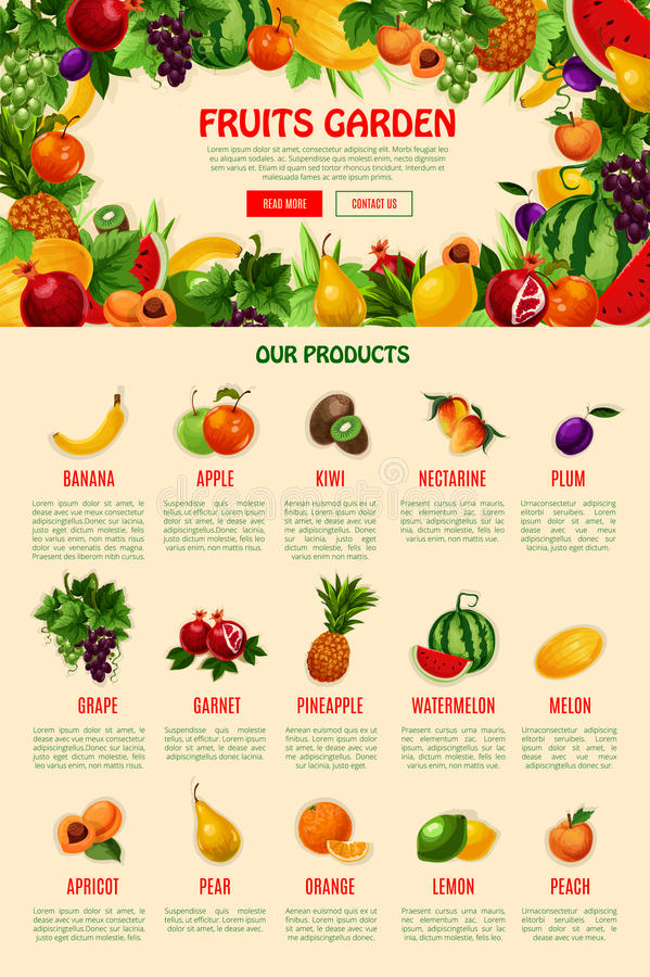 Calibre de page Web d'atterrissage de vecteur pour la boutique de fruit illustration de vecteur