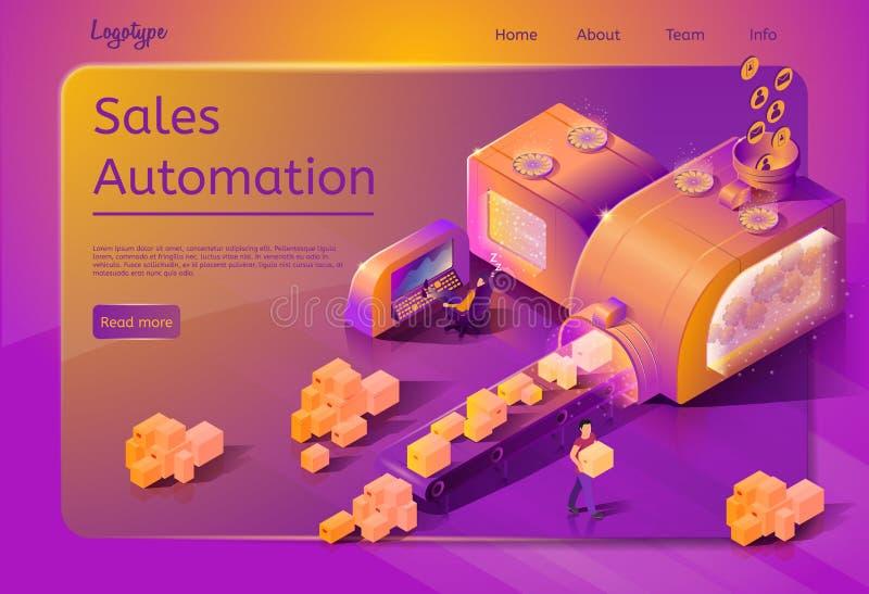 Calibre de page Web de vecteur de service d'automation de ventes illustration libre de droits