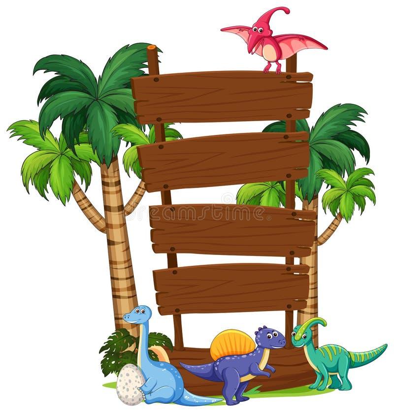 Calibre de panneau en bois de dinosaure illustration libre de droits