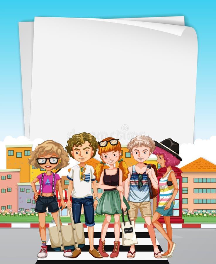 Calibre de papier avec des adolescents sur la rue illustration de vecteur