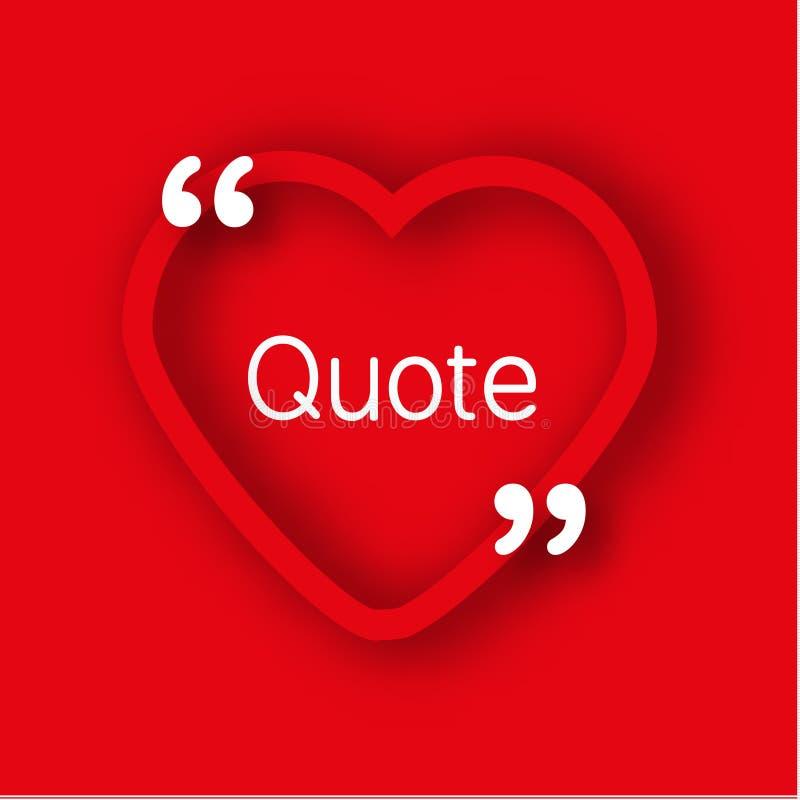 Calibre de papier de cadre de forme de coeur dans le style réaliste Coeur rouge avec des virgules pour les citations et votre tex illustration de vecteur