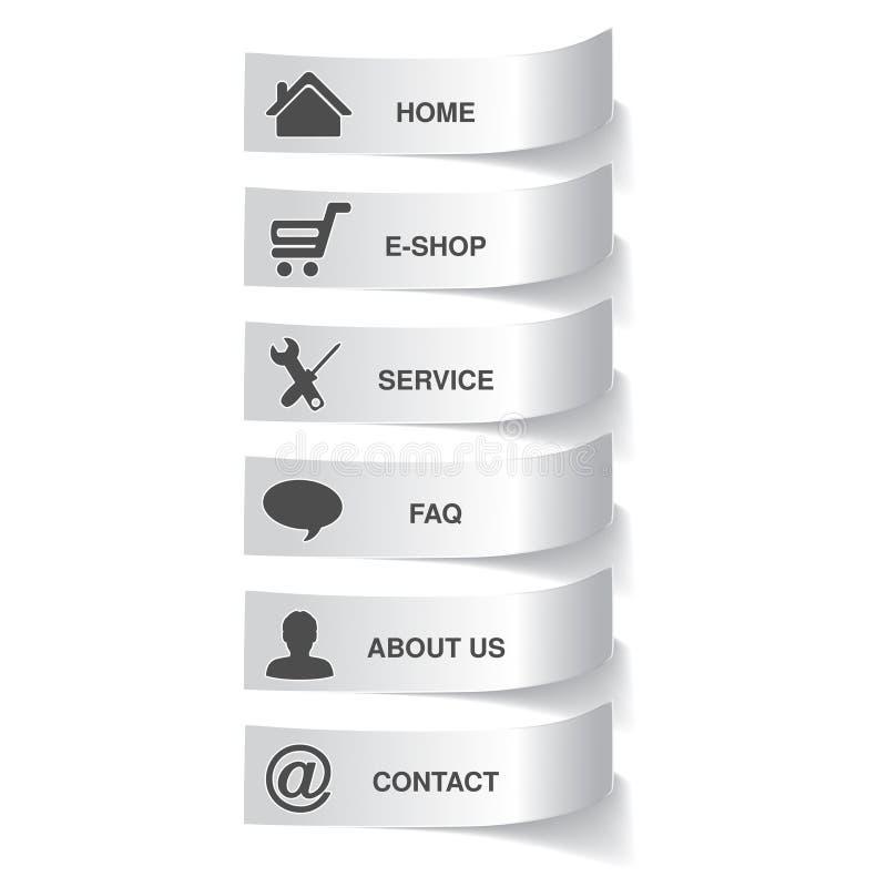 Calibre de papier de navigation - 6 commandes de menu, options illustration stock