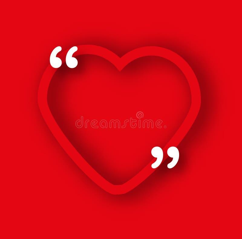 Calibre de papier rouge de cadre de coeur dans le style réaliste Formez avec des virgules pour les citations et votre texte Roman illustration libre de droits