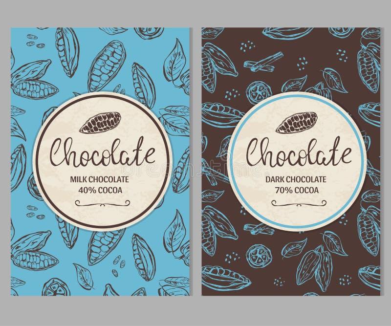 Calibre de paquet de chocolat avec les graines de cacao tirées par la main illustration stock