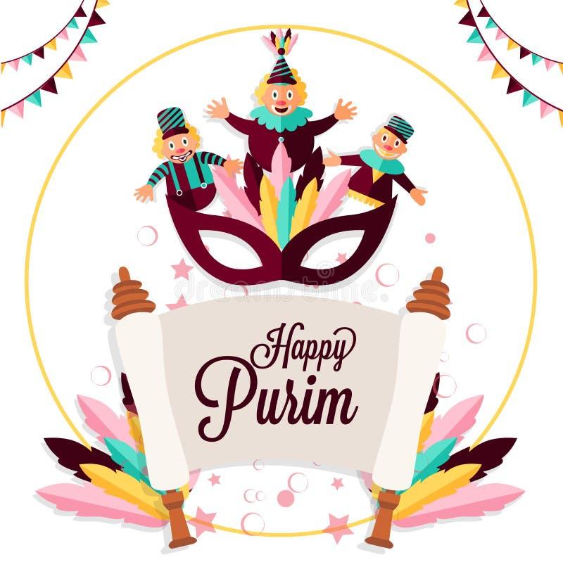Calibre de partie de Purim ou design de carte heureux de salutation avec le je drôle illustration libre de droits