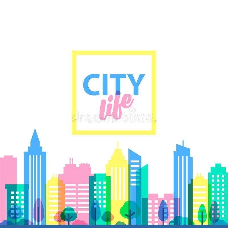 Calibre de paysage de ville Illustration plate de style dans des couleurs de pastels ivres Bâtiments colorés sur le fond blanc illustration stock