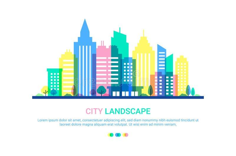 Calibre de paysage de ville Illustration plate de style dans des couleurs de pastels ivres B?timents color?s sur le fond blanc illustration libre de droits
