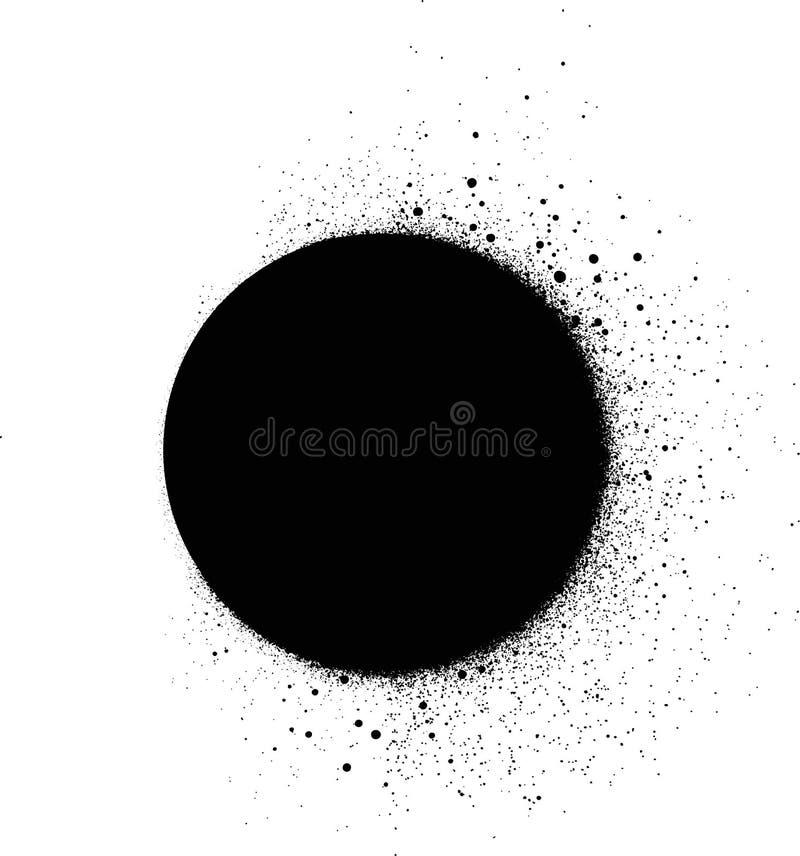 Calibre de peinture de jet de cercle de graffiti dans le noir au-dessus du blanc illustration stock