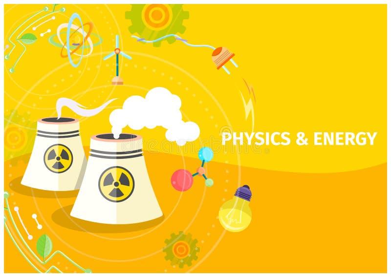 Calibre de physique et d'énergie avec les barils chimiques illustration de vecteur
