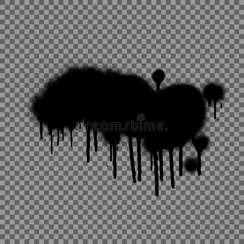 Calibre de pochoir de graffiti de jet Le noir ?clabousse d'isolement sur le fond transparent illustration stock